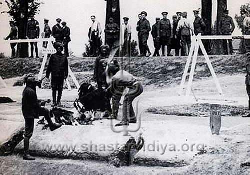 Chatka - Hindu Sikhs decapitating a goat during World War II, as their British comrades look on