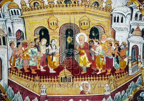 An image from Baba Atal in Amritsar depicting Guru Nanak alongside all the Hindu Devas (dieties) and the great Kabir; all are seen paying homage to the divine light at Hari Mandir (the Golden Temple), fresco, mid 19th century, Amritsar, Punjab