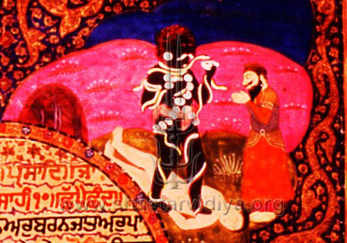This 19th century image from a Dasam Guru Granth Sahib manuscript depicts Guru Gobind Singh worshipping the personified from of the Sakt (source of Adi Shakti) Mahakal, in his most horrific form as Bhairo. The Sakt on earth is represented by the Khanda (double-edged sword) which is in turn personified in the form of Mahakal. The ignorant revisionist-informed Sikhs construe such concepts as anti-Sikh