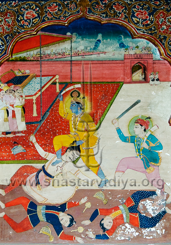 The unstoppable Krishna wielding an elephant tusk, from a elephant he had just defeated. He is depicted taking his evil uncle Kansa by the hair and killing him. Krishna's older brother Balram is also seen wielding a Khanda sword and a tusk, fresco, Patiala, Punjab
