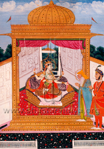 Like all past Sikhs the great Sikh ruler of the 19th century Maharaja Ranjit Singh was devotee of the primordial power the mother and guardian of the universe. In this image he is seen alongside Hira Singh paying homage to the personified from of the sword - Chandi, and was commissioned by Ranjit Singh himself, 18th century, Delhi Museum