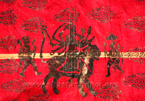 Image of the mother of the world Chandi seated upon her steed; found on a 19th century Sikh battle standard of Ranjit Singh's army. The embroidery of such images of Hindus deities Chandi, Hanuman, Rudra, etc. on battle standards was a common feature in the pre-revisionist Sikh world