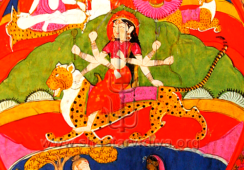In this Dasam Guru Granth Sahib manuscript the guardian of Sanatan (timeless) Dharma (Chandi) is shown mounted on a leopard