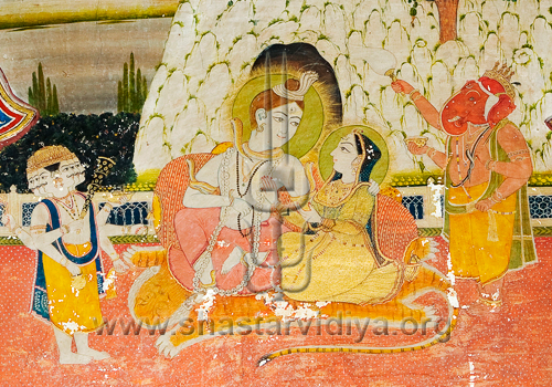 Shiva, his consort Chandi, together with their sons, Kartikeya and Ganesh, fresco, Patiala, Punjab