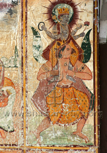 Vishnu seated on Garuda, fresco, Dehradun, India