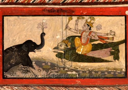 Vishnu seated on Garuda saving the elephant Gajendra, fresco, Una, Punjab
