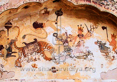 Hanuman engaged in battle, fresco, Hoshiarpur, Punjab