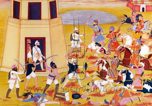 Sikh armies engaged in battle, circa 18th century, Punjab
