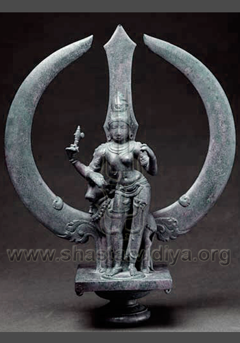 Ardhanarishvara, representing Shiv Shakti. The key principles of akarshan (attracting, compressing and gravitational energy) and gatti (kinetic energy) is symbolically represented by Bhagwan (Lord) Shiva and his beautiful wife mother Parabati
