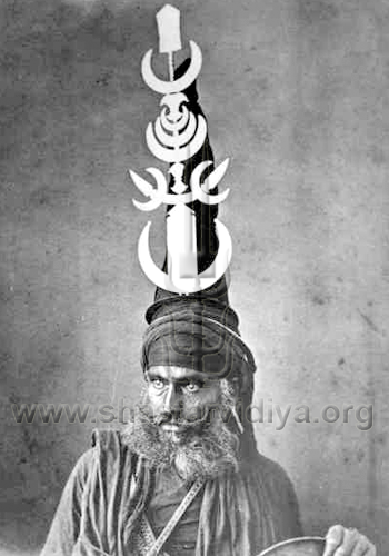 Akali Nihang Singh adorned with a Gajgah, symbolic of Shiv Shakti, late 19th century, Hyderabad