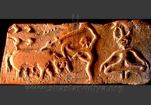 Pashupati and animal sacrfice - oldest known martial image in India, terracotta, Mohenjodaro, Indus Valley