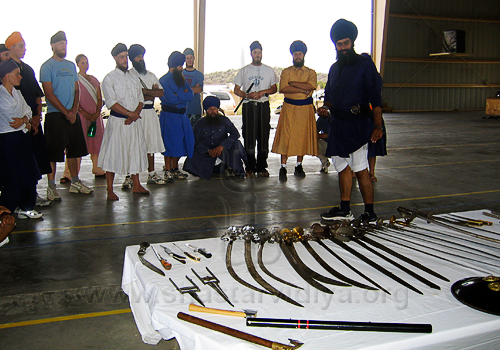 Nidar Singh Nihang conducting an Akhara in Germany