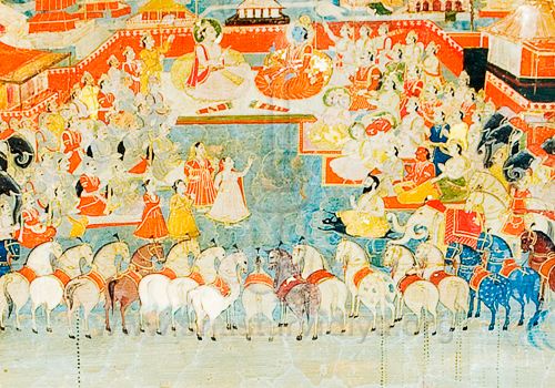 Krishna and Arjuna wtih their army, fresco, mid-19th century, Patila, Punjab