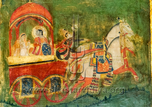 Krishana and Arjuna, the iconic Indian figures associated with Dharma, fresco, Patiala, Punjab
