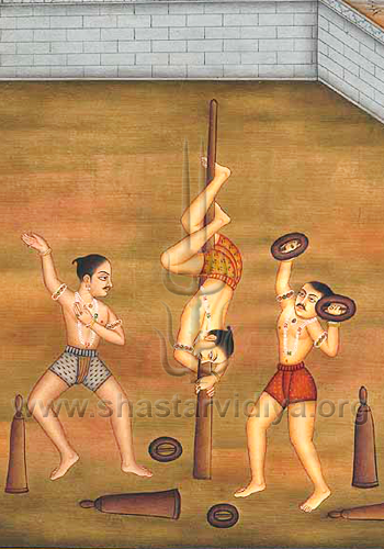 Manuscript depicting traditional Indian body conditioning techniques, mid-19th century, Delhi