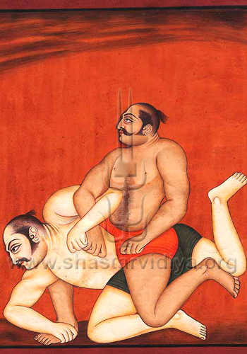 Traditional Indian wrestingling from Punjab, mid-19th century, Delhi Museum