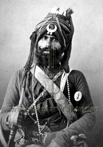 Akali Nihang bodyguard serving in the Nizam of Hyderabad's irregular Sikh army, albumen print, circa 1865