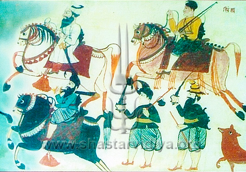 Akali Nihangs armed with a wide variety of weapons, mid 19th century, fresco, Punjab