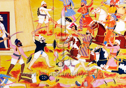 Akali Nihangs engaged in battle, mid 19th century, Punjab