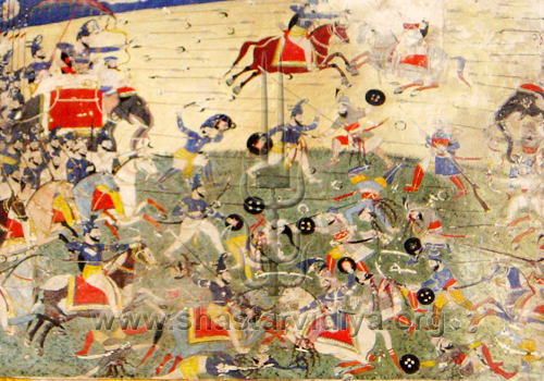 Battle between Akali Nihangs and Afghans, fresco, Raja Suchet Singh's palace, mid 19th century, Ramnagar, Jammu